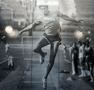 This photo of Vincent Bean has for years been on display in a school showcase. This is a photo of a photo, taken through glass because the school does not allow removal of the photo. When the high schools combine, this and other showcases will likely be cleared to make room for the new high school's sports history.